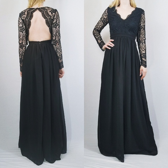 Lulus Dresses Awaken My Love Black Long Sleeve Lace Maxi Dress